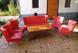 Retro sky club with red set, armchair, sofa, table