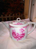 Antique landscape porcelain tea jug - flawless