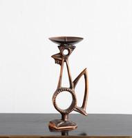 Retro bronz gyertyatartó kakas - fémműves ötvös réz madár, madaras gyertyatartó