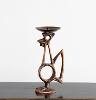 Retro bronze candlestick rooster - metalworker goldsmith copper bird, bird candlestick