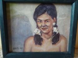 Portrait of girl- plum - oil painting