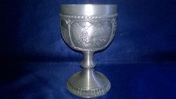 Embossed, marked tin cup 02.