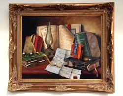 István T. Czene book still life framed 54x64cm