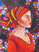 B.Tóth irisz- the girl in the red shawl -abstract painting 40x30cm