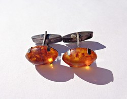 835 silver cufflinks with amber stones
