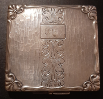 Antique silver-plated engraved cigarette case with