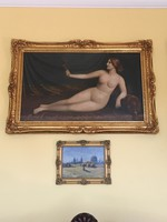 Friedlinger jeno-lying nude with mirror, 94x58cm without frame