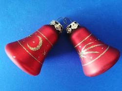 Piros - arany üveg karácsonyfadíszek 2 db csengő
