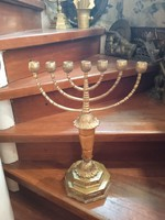 45 Cm high copper and wooden menorah from the beginning of the 20th century, special piece