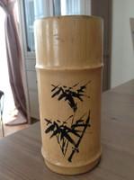 Old Chinese original bamboo hand painted brush holder