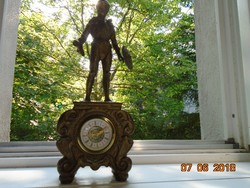 Armored knight with heavy, solid copper statue, ornate baroque clock house