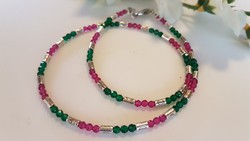 Natural, faceted emerald and ruby bead string!