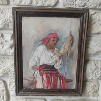 Special antique painting, good quality, young girl in folk dress! Spinning weaving in folk costume.