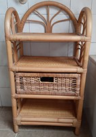 Rattan bedside table with shelf drawer