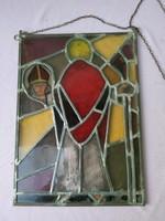 Tiffany jellegű üvegkép,  ólomüveg festmény, talán Szent Dénes kép
