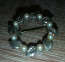 Antique silver plated brooch with pearl inlay