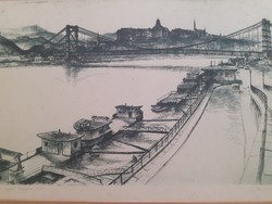 The Elizabeth Bridge under construction, original etching Christmas? With signal