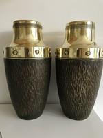 Art deco copper fireplace vases, 31 cm high