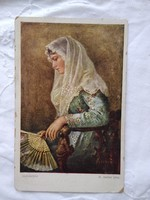 Antique Austrian postcard / art card lady in lace scarf, fan circa 1920s