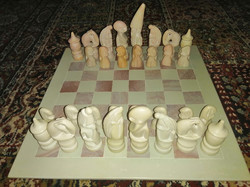 Stone chess set, carved mineral chess gemstone chess set