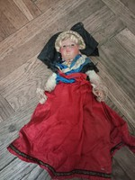 Special rare marked French antique leminor doll in folk costume from the 1950s