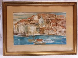Oil cardboard marked painting, boats