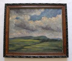 Béla Balla's painting entitled: Cloudy Landscape