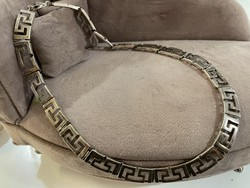Thick silver Greek pattern necklace, beautiful necklace
