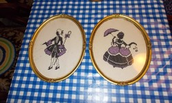 Embroidered pictures in pairs.Bondel frame.
