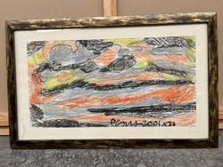 Németh Miklós eredeti absztrakt festmény 66x42 cm
