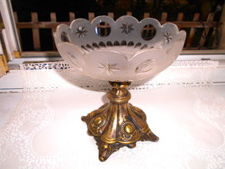 Antique centerpiece serving metal and polished glass