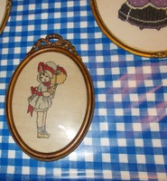 Nice little embroidered picture. Bieder frame