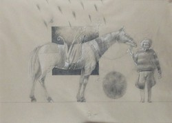 Gábor Nagy - wonderful 38 x 53 cm mixed media, paper 1985, framed