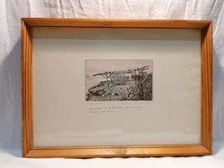 Marked etching fishing boat
