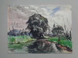 Watercolor by István Élesdy (1912-1987)