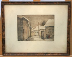 With sign: Kovács Ferenc - Colored etching entitled: Winter
