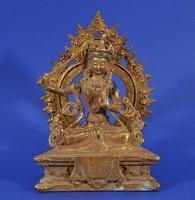 Goddess Wenshu, antique gilded bronze figure, 19th Century