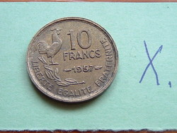 French 10 French Franc 1957 Aluminum Bronze Rooster #x