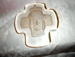 Glass sign with a leaf weight or wall cross with suffering Jesus