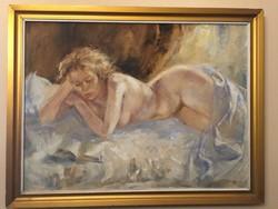 Csomor Katalin ( 1945- ) Olvasó nő című képcsarnokos festménye .