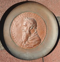 Antique bronze relief on a copper background - marked
