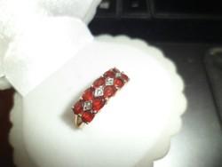 14K gold ring / garnet, brill
