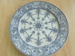 Antik kobaltkék dúsan mintázott porcelán tányér