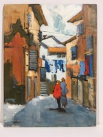István Károlyi: old town detail, oil painting
