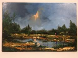 István Károlyi: spring landscape, oil painting