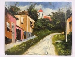 István Károlyi: street detail in Pécs, oil painting