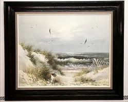 Dancing Seagulls - a beautiful, marked seaside larger oil painting from a Flemish workshop