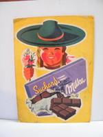 Vintage Milka Suchard reklám plakát kemény papíron (1950-es évek)