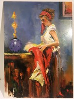 István Károlyi: female figure with red tablecloth, oil painting