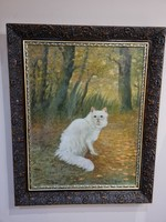 Heyer artur - (1872 - 1931) - a white Persian in the woods